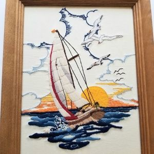 Vtg Handmade Nautical Sailboat Needle Framed Art